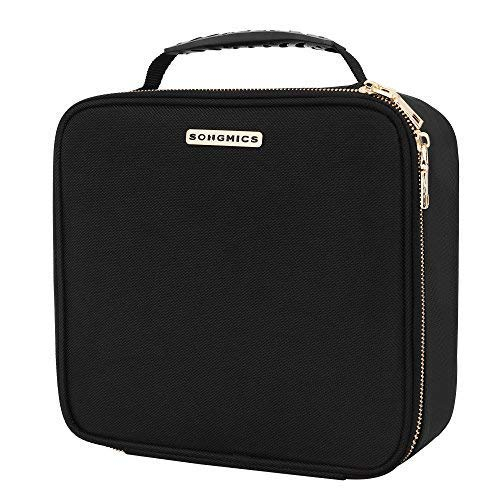 """SONGMICS 10.1"""" Makeup Cosmetic Case Organize travel Train Case Cosmetic Bag Organizer with Adjustable Dividers Toiletry Jewelry Digital accessorie Case Black UMUC23BK"""
