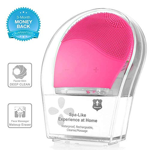 Sonic Face Cleanser, Opaceluuk Silicone Facial Cleansing and Massager Brush, Anti-Aging, and Reducing Acne.(Pink) (Best Sonic Face Cleanser)