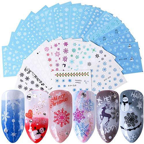 Christmas Nail Decals Nail Art Accessories Winter White Snowflake Nail Stickers 30 Sheets Xmas Bell Snowman Elk Cupid Water Transfer Nail Art Stickers for Women Fingernails Toenails Decorations