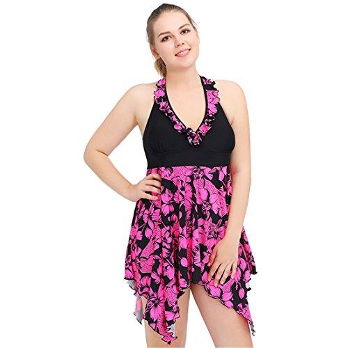 Wellwits Womens Ruffle Asymmetric Swimdress