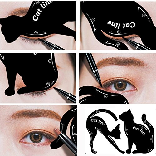 Cat Line Eyeliner Stencil, Smoky Eyeshadow Applicators Template Plate, Professional Multifunction Black Cat Shape Eye liner & Eye Shadow Guide Template (PVC Material)