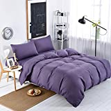 MIFE TEXTILE 100-Percent Microfiber Bedding Sets, Pure Color Duvet Cover Set, 4PCS (Twin, Purple)