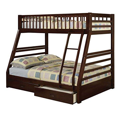 Rosebery Kids Twin Over Full Storage Bunk Bed in Espresso