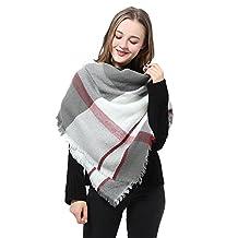 Plaid Blanket Scarf Womens Large Grid Scarf Winter Tartan Checked Wrap Shawl