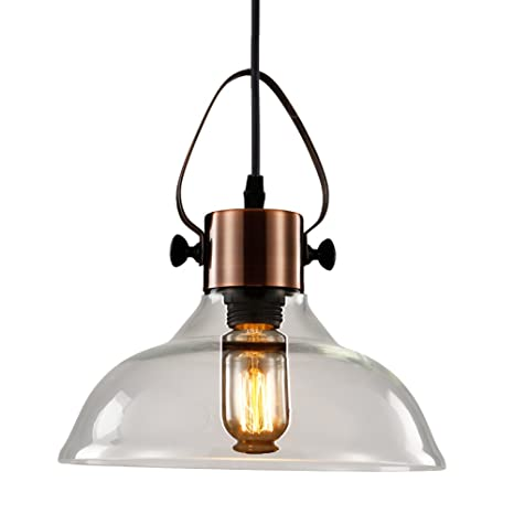 MSTAR Glass Ceiling Pendant Light, Industrial Antique Copper Metal E27 40W  Edison Ceiling Hanging Light with Clear Glass