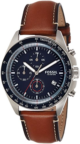 Fossil Men's Quartz Stainless Steel and Leather Casual Watch, Color Brown (Model: CH3039)