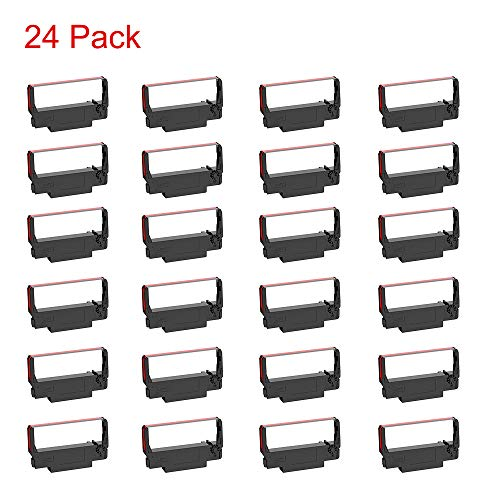 Bigger 24-Pack ERC30 B/R Compatible Cash Register Ink Ribbon for Epson ERC-30 ERC 30 34 38 Used in ERC38 NK506 (Black and Red)