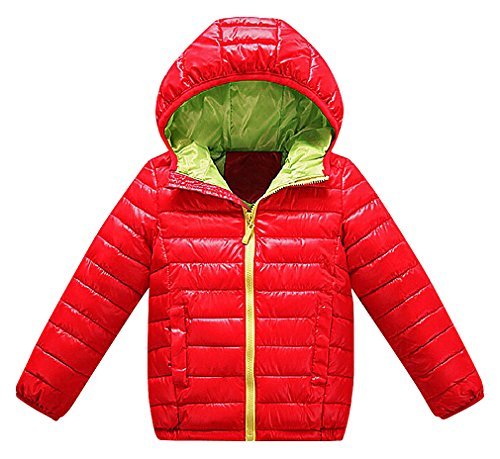 BPrincess Girls Solid Color Or Printed Zip Up Quilted Hooded Cotton Down Jackets, 3 -