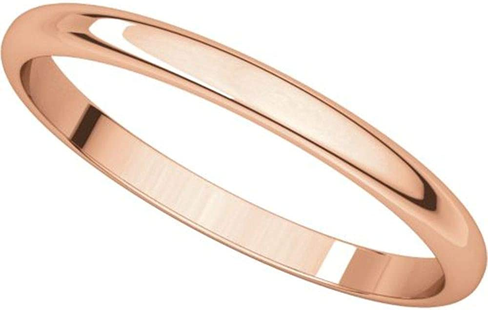 Bonyak Jewelry 10k Rose Gold 2 mm Lightweight Half Round Band