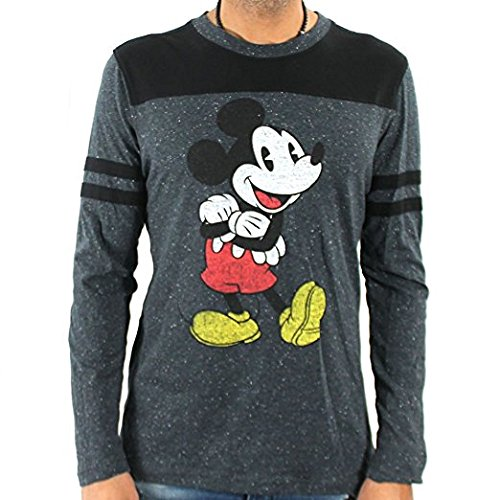 Retro Vintage Licensed Charcoal Speckle Long Sleeve T Shirt (X-Large) (Mens Disney Vintage Mickey Mouse)