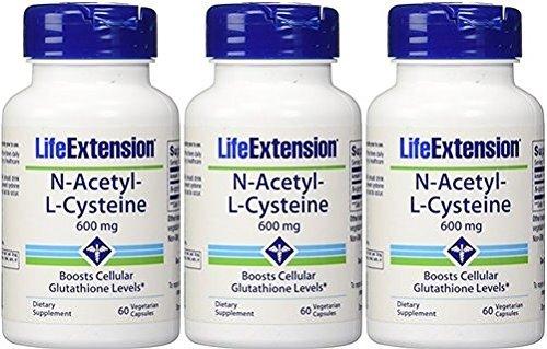 Life Extension N-Acetyl Cysteine 600 Milligrams, 60 Vegetarian Capsules 3 Pack