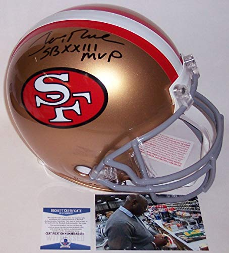 - Jerry Rice - Autographed Official Full Size Riddell Authentic Proline Football Helmet - San Francisco 49ers - BAS Beckett Authentication