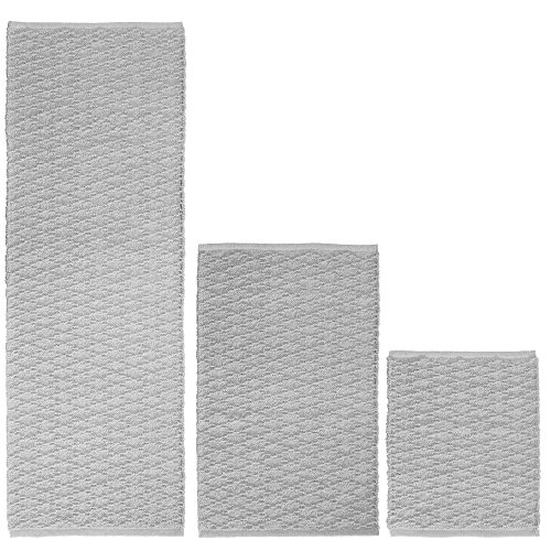 Bath Runner (mDesign Soft 100% Cotton Luxury Rectangular Spa Mat Rugs, Water Absorbent, Diamond Design - for Bathroom Vanity, Tub/Shower, Machine Washable - Runner, Standard & Small Rug - Set of 3 - Gray)