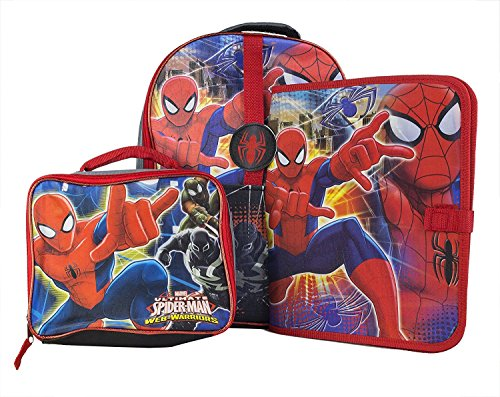 (Marvel Spiderman Backpack for Boys Kids ~ Deluxe 16 Inch Spider-man Backpack with Pencil Case, Lunch Bag and Stickers (Spiderman School Supplies))