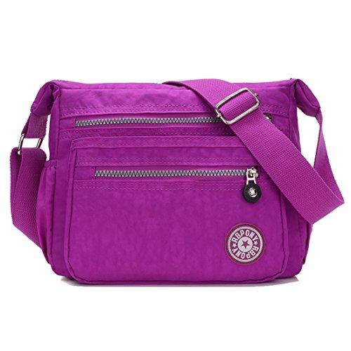 for Howoo Nylon Purse Girls Multi Pockets Travel Messenger Shoulder gray Women Casual Handbag Bag smoke Bag Crossbody purple light 7S7qfpFw