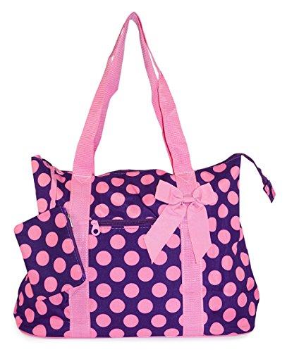 Ever Moda Purple Pink Polka Dots Tote Bag X-Large 21-inch