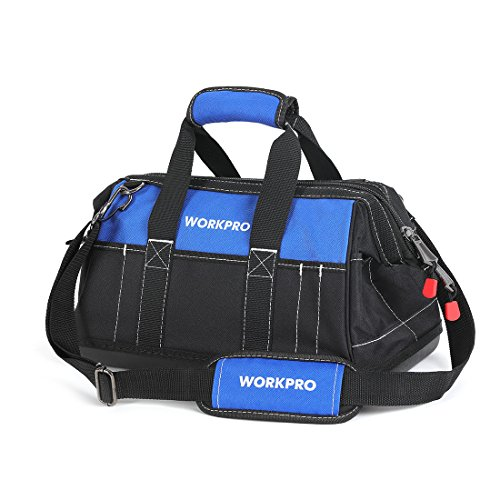 WORKPRO 16-inch Wide Mouth Tool Bag with Water Proof Molded Base - Molded Tool Case