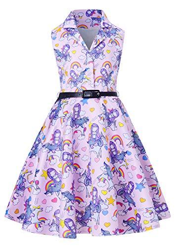 RAISEVERN Girls Vintage Formal Dress Beautiful Birthday Dance Casual Fancy Fancy Mermaid Dresses for Teen Girl 12-13 -