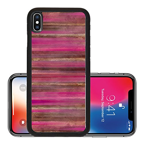 - Liili Premium Apple iPhone X Aluminum Backplate Bumper Snap Case Brown and pink watercolor wash stripes with text space Photo 7596406