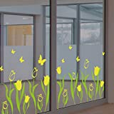 Tulip flowers warm flowers shop window glass decals skirting Corner line wall stickers,yellow
