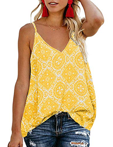TECREW Women's Boho Floral V Neck Spaghetti Straps Tank Top Summer Sleeveless Shirts Blouse