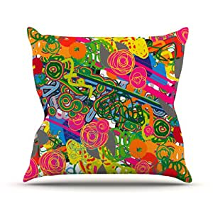 """Kess InHouse Frederic Levy-Hadida """"Psychedelic Garden"""" Outdoor Throw Pillow, 20 by 20-Inch"""