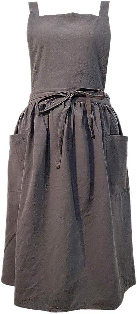 Women Girls Vintage Apron Gardening Works Cross Back Pinafore Dress