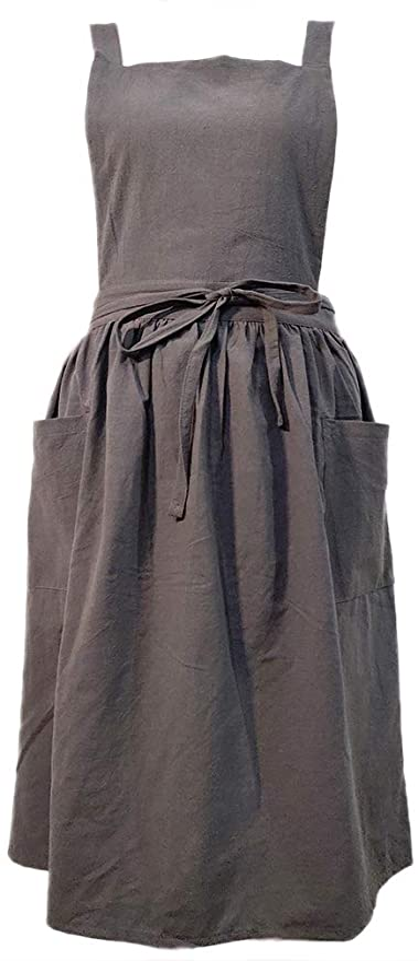 Cottagecore Clothing, Soft Aesthetic Women Girls Vintage Apron Gardening Works Cross Back Pinafore Dress  AT vintagedancer.com