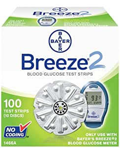 Bayer Breeze2 Blood Glucose, 100 Test Strips