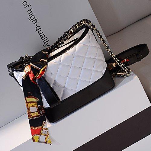 Gunaindmx White Stray Diagonal Lingge Chain Bag Bolsos Double Shoulder Bags Bucket Black And Small wqr4gwx7