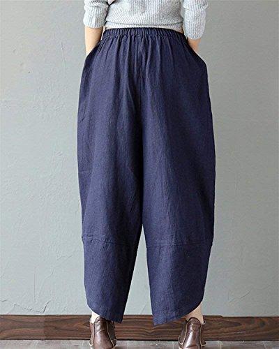 Estivi Stoffa Glamorous Marine Pantaloni Pattern Semplice Lunga In Taille Moda Stampate Nahen Baggy Irregular Trousers Donna Di Tasche Vita Elastico Eleganti Con Harem 5XxAwFq