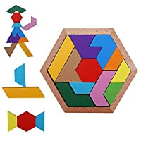 Wooden Tetris Puzzle Tangram Jigsaw Brain Teasers Toy Building Blocks Game Colorful Wood Puzzles Box Intelligence Educational Gift For Kids