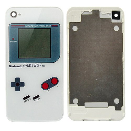 [Aftermarket Product] White Game Boy Pattern Back Glass Replacement Battery Cover Housing Complete Rear Door free Screwdrivers and Easy install,only For AT&T iPhone 4 (Not Fit Verizon/sprint Iphone 4,Not Fit Iphone 4s)