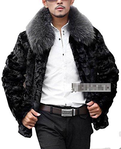 S&S Men's Fashion Winter Warm Thick Mink Fur Coat Outerwear Fur Collar Overcoat Jacket