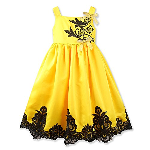 Girls Dress Summer Yellow Sleeveless Lace Wedding Party Baby Dresses Birthday (Tag:130, Yellow) by Samgami Baby