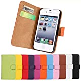 BAB® Luxury Genuine Leather Wallet Flip Case Stand Folio Case with Card Slots for Apple iPhone 4 / 4S High Quality