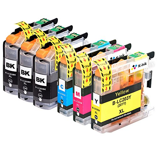 K-Ink Compatible Replacement Ink Cartridges for Brother LC203 LC 203XL LC201 for MFC-J480DW (6 Pack - 3 Black, 1 Cyan, 1 Magenta, 1 Yellow)