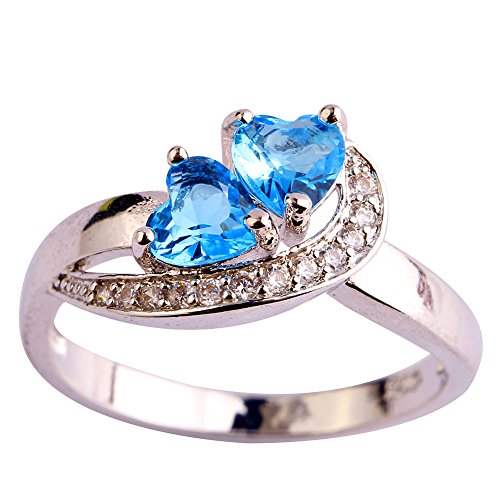 Veunora 925 Sterling Silver Created Blue Topaz Filled Promise Ring for Women Size 8