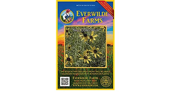 1000 Leavenworth/'s Tickseed Wildflower Seeds Everwilde Farms Mylar Seed Packet