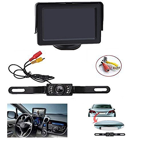 Backup-Camera-and-Monitor-Kit-AGPtEK-Universal-Waterproof-Adjustable-CMOS-Rear-view-License-Plate-Car-Rear-Backup-Camera-43-LCD-Rear-View-Monitor
