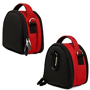 Red Limited Edition Camera Bag Carrying Case with Extra Accessory Compartment for Fujifilm FinePix Point and Shoot Digital Camera by eBigValue