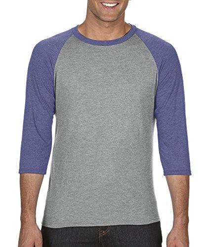 Anvil Adult Tri-Blend 3/4-Sleeve Raglan T-Shirt, HeatherGry /Hthr Blue, XX-Large (Short Adult Anvil)