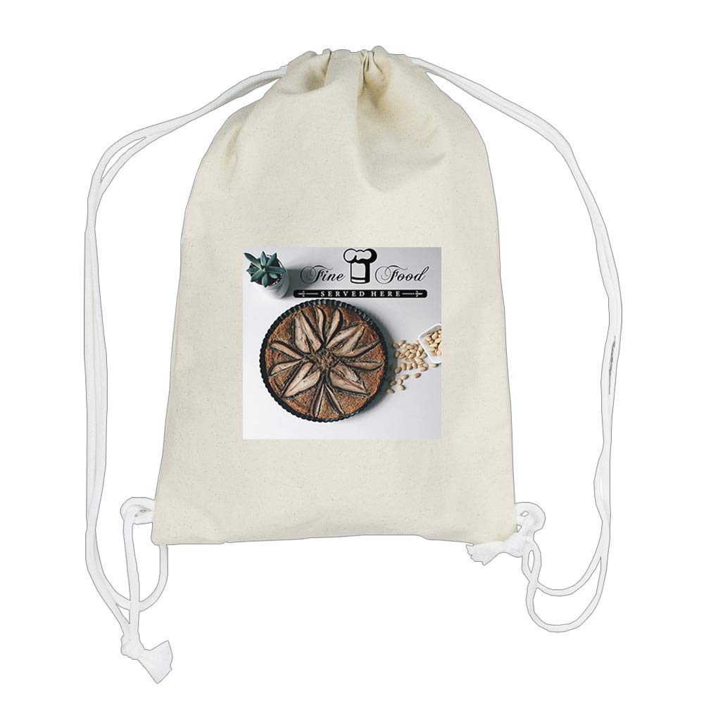 Fine Ground Nut Food on Table Cotton Canvas Backpack Drawstring Bag Sack by Style in Print (Image #1)