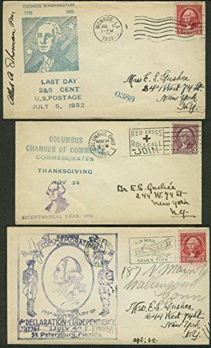 George Washington Bicentennial 1932 postal covers Ohio Louisiana Florida