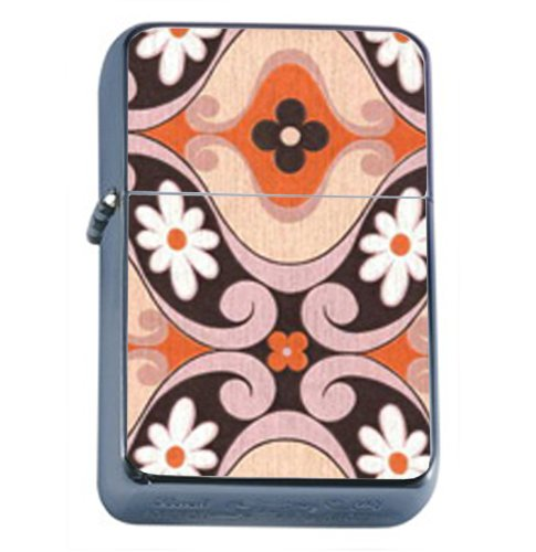 1960s Or 70s Mod Wallpaper 8 Windproof Refillable Flip Top Oil Lighter with Tin Gift Box D-043 70s Mod Wallpaper