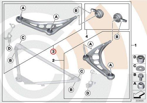 BMW Genuine Control Arm Wishbone Right Repair Kit Front E46 E85 E86 320i 323Ci 323i 325Ci 325i 328Ci 328i 330Ci 330i Z4 2.5i Z4 3.0i Z4 3.0si Z4 3.0si