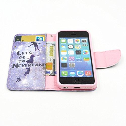 iPhone 5C Case, Yaobai flip en cuir PU Wallet Card *** Magnetic PU cuir Wallet *** stand Case titulaire de la carte Shell cute adorable [animal] flip PU Housse en cuir Housse Wallet Card avec plusieur