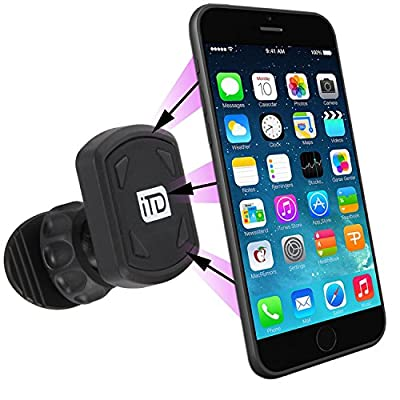 iTD Gear Removable Magentic Car Mount For Airvent, Windshield and Dashboard for iPhone, Andriod, Samsung and More