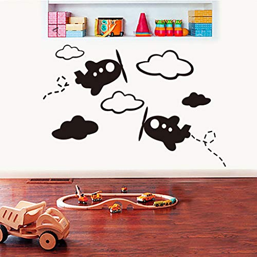 WOCACHI Wall Stickers Decals Removable Airplane Wall Stickers Home Decorative Decal Kids Nursery Baby Room Art Mural Wallpaper Peel & Stick Removable Room Decoration Nursery Decor