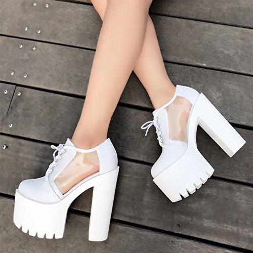 15 XiaoGao grueso DS de de tacones rendimiento Blanco zapatos cm Bar de noche fondo aqpw4r8a
